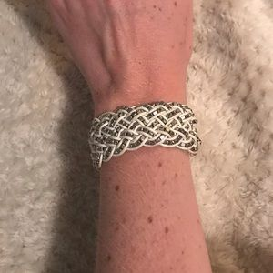 White and silver woven bracelet